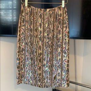 J. Crew midi sequin snakeskin skirt size 0